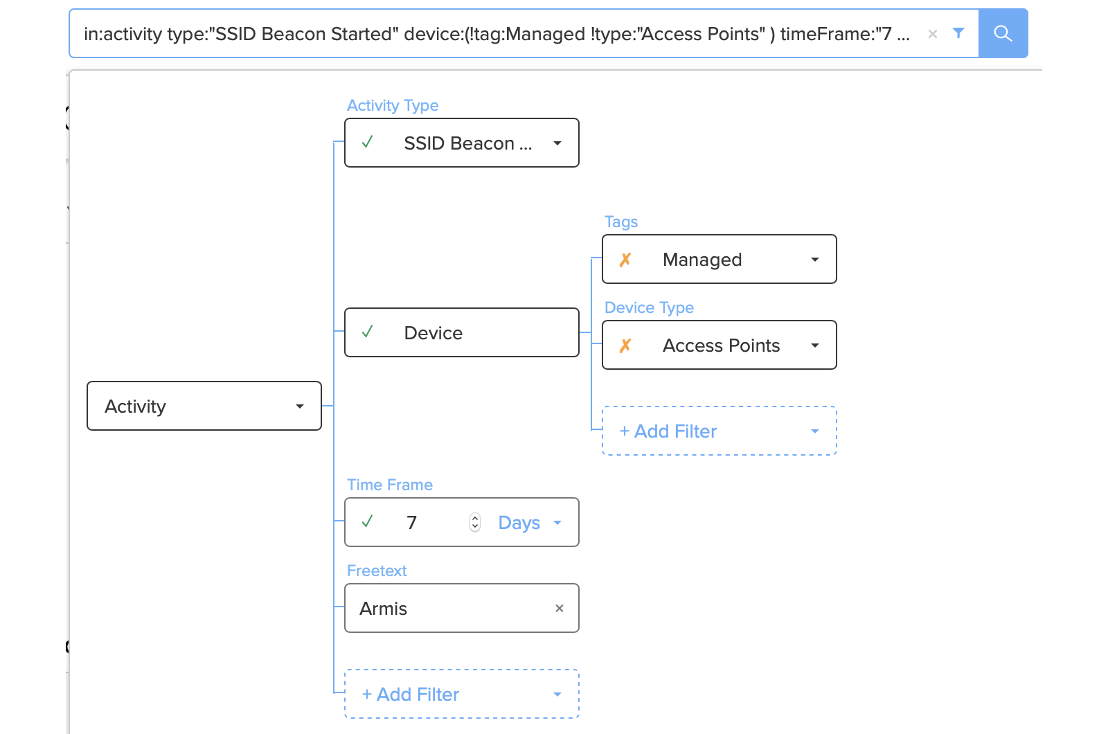 Armis Standard Query View - Beacon Discovery